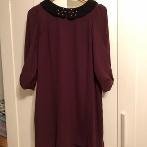 Burgundy shift dress with Peter Pan collar